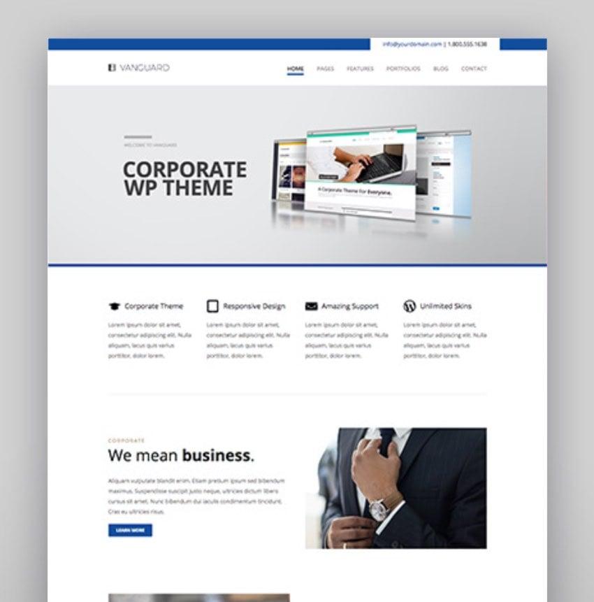 Vanguard Business  Portfolio WordPress Theme