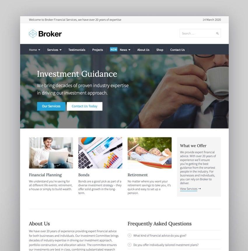Broker - Business and Finance WordPress Theme