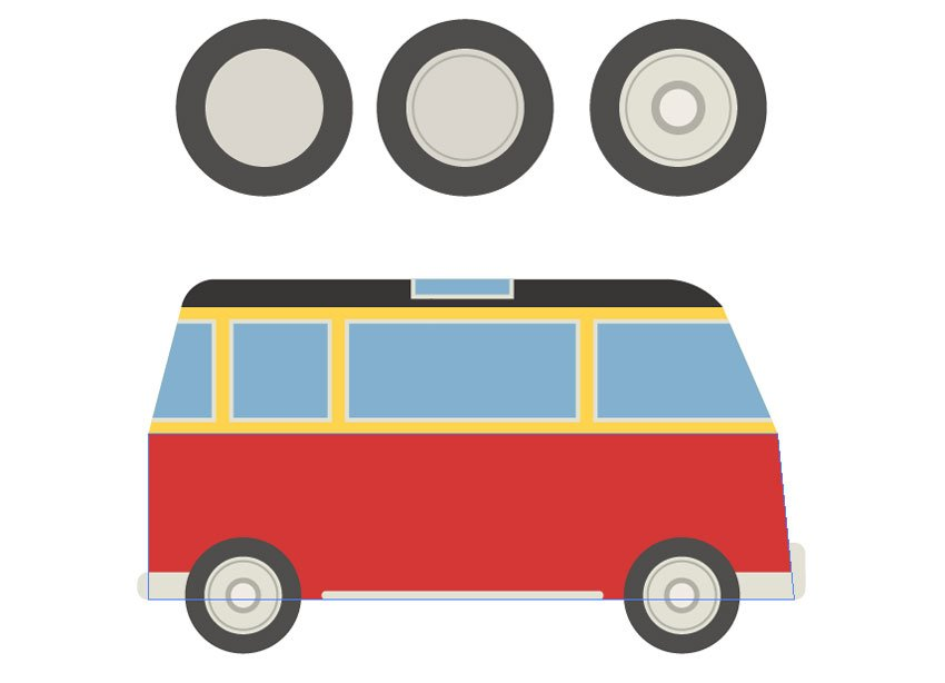 Making the wheels and placing them to the van