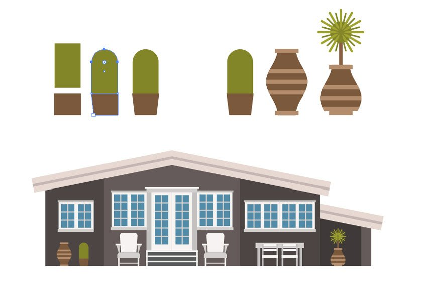 Creating the cactus pot and placing the plants to the house