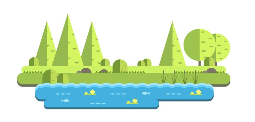 Placing the trees and the bushes on the main scene