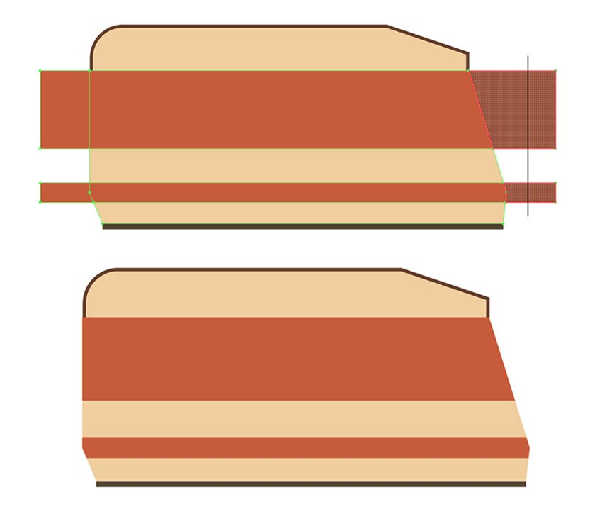 Cutting outstanding parts of the stripes
