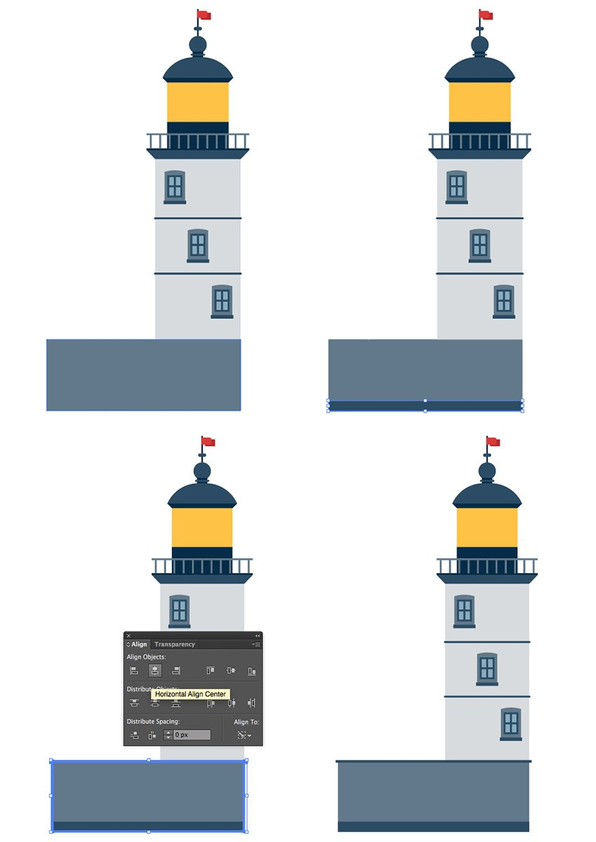 Adding Two Rectangles under the Tower