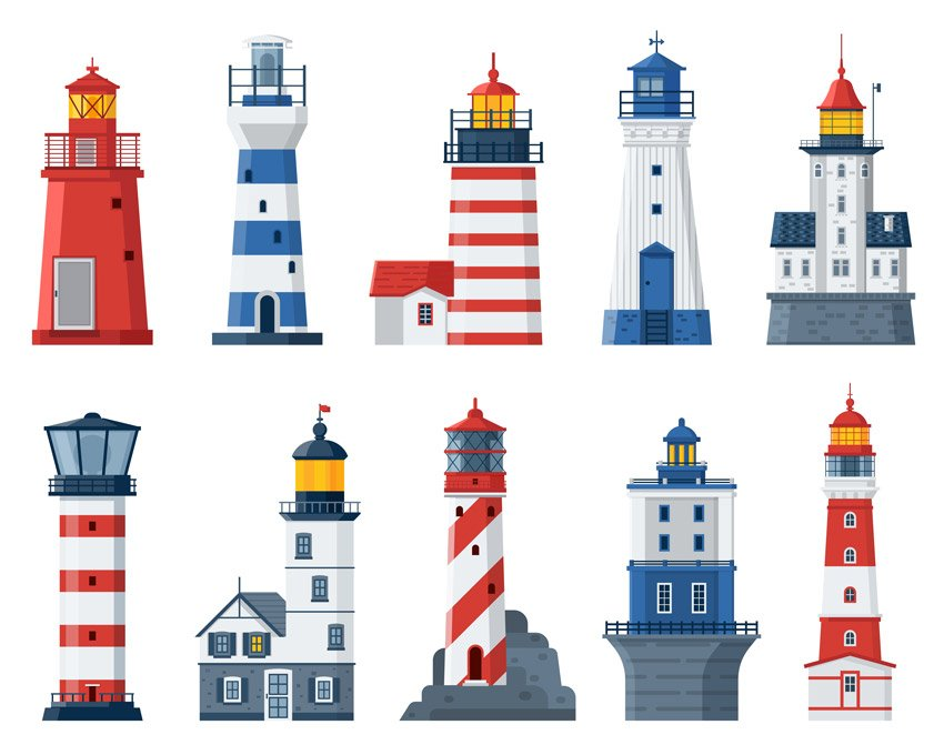 Flat Lighthouses and Sea Guide Lights Set