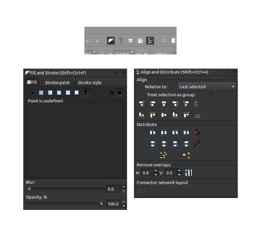 Open the Alignment and Fill and Stroke panels in Inkscape