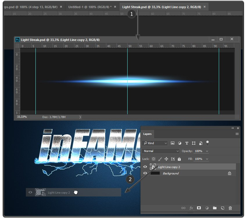 Dragging the Light Streak layer to the main document