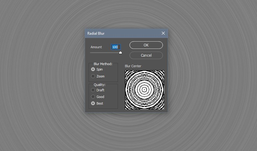 Adding a radial blur to the noise