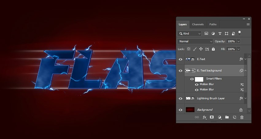 E Text background layer and its filters