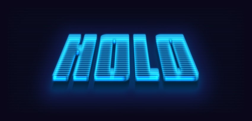 Holographic 3d text effect