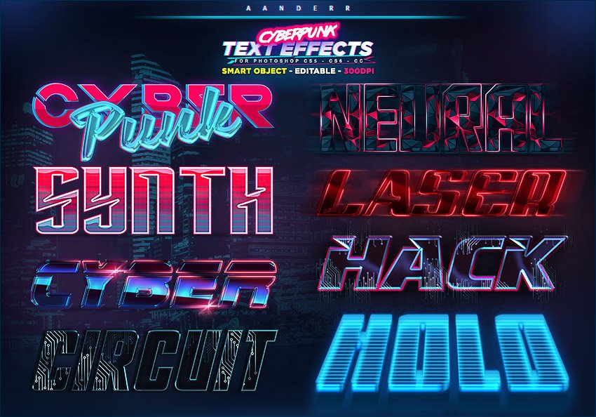Holographic 3D text - Cyberpunk text effects