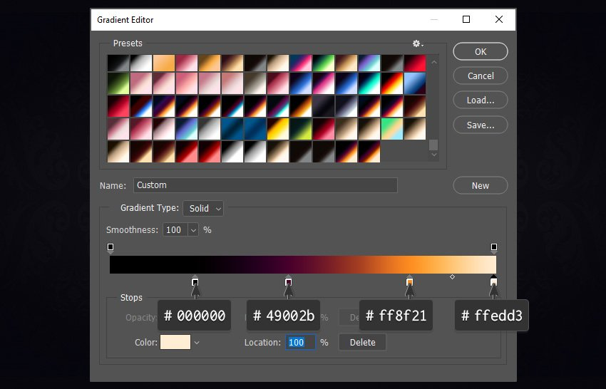 Gradient editor with a new gradient