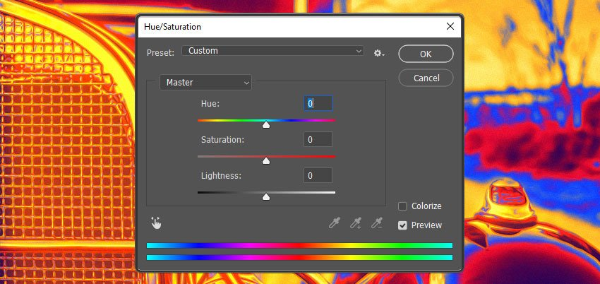Hue and Saturation values