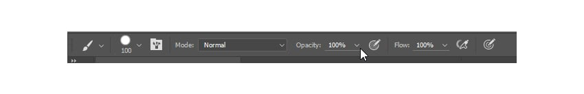 Set both brush opacity and flow to 100 percent