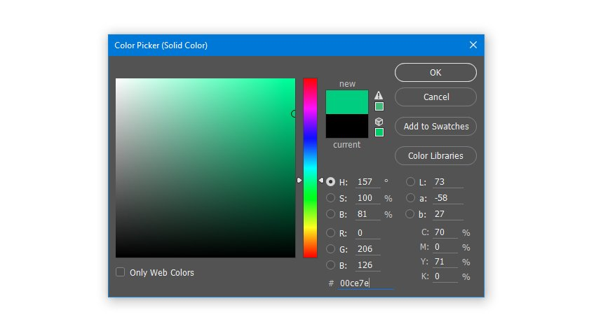 Create a Solid Color Fill layer with hex color code 00ce7e