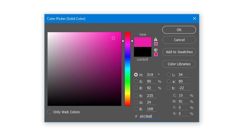 Create a Solid Color Fill layer with hex color code eb18a8