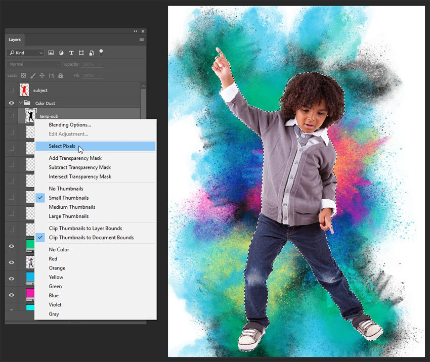 Right-click on the layer thumbnail of the temp-sub layer and select Select Pixels