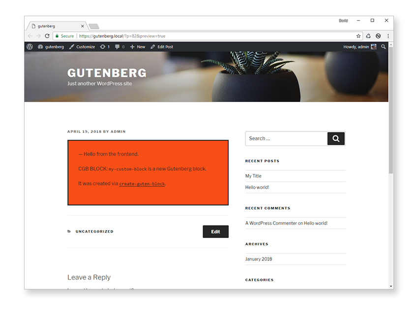Block Rendered on Frontend