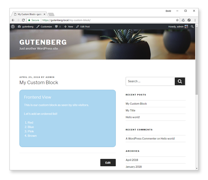 Updated frontend view