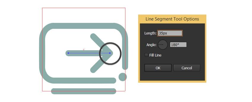 Create a line from arrows edge