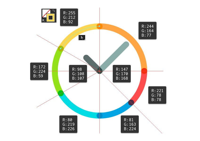 Change the color of clocks shapes