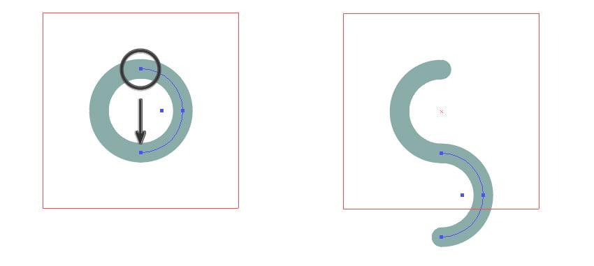 Move the right half-circle