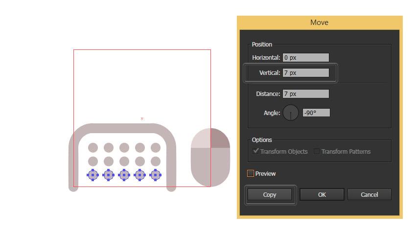Create three rows of circles