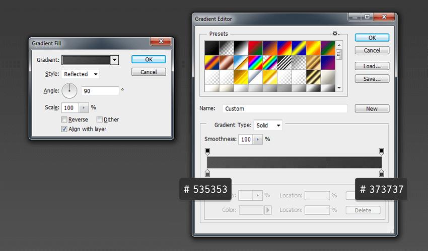Set colors of Gradient