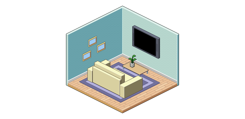 Isometric Pixel Art Room Photoshop Tutorial
