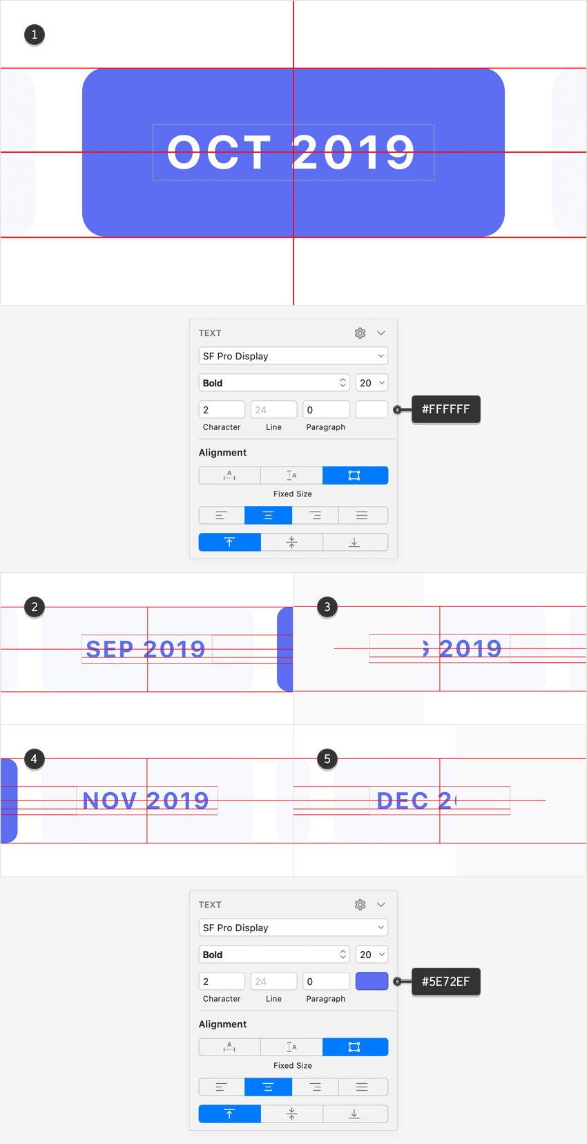 text horizontal scrolling menu