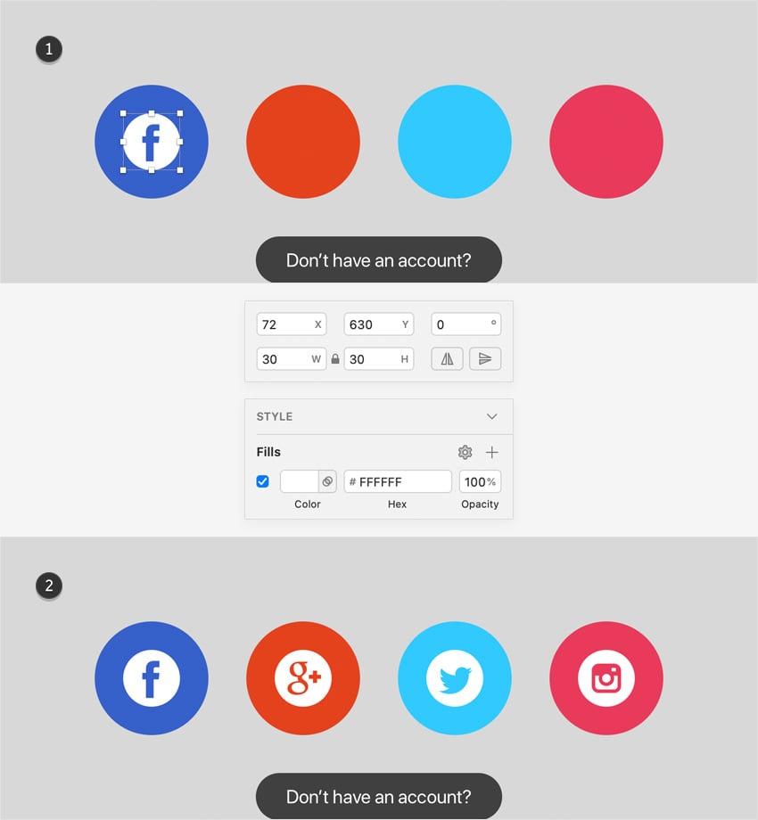 sketch design social icons