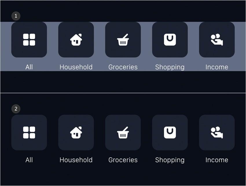 categories bar