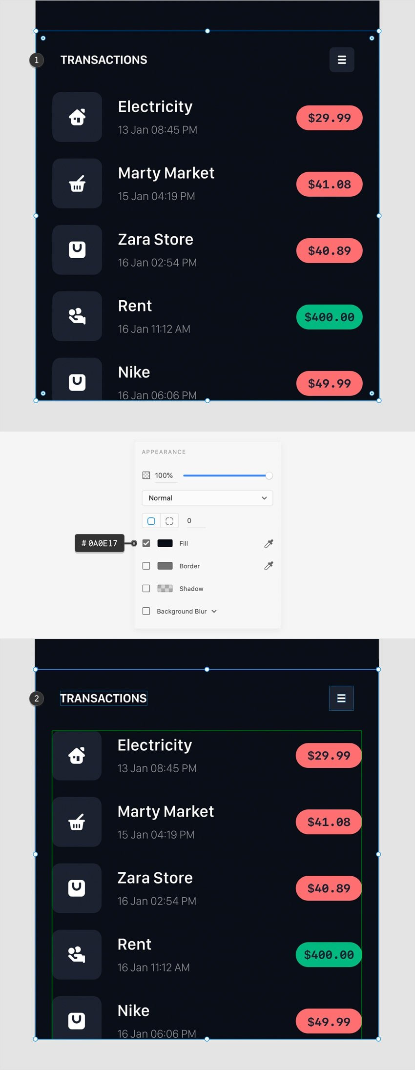 transactions bar