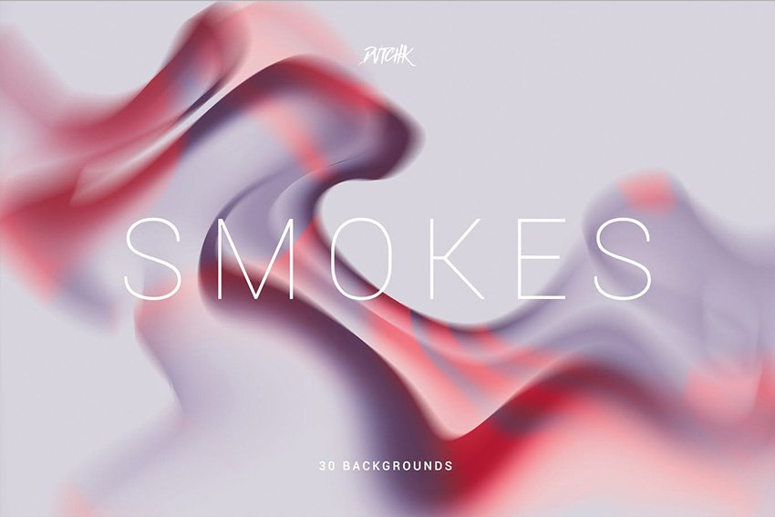 6 Smooth  Abstract Photoshop Smoke Background Pack