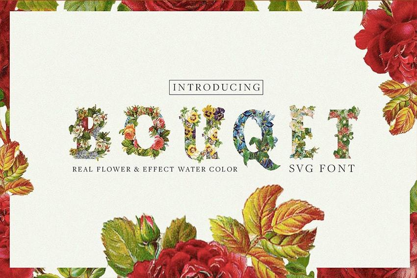 Bouqet Flower  Watercolor SVG Font