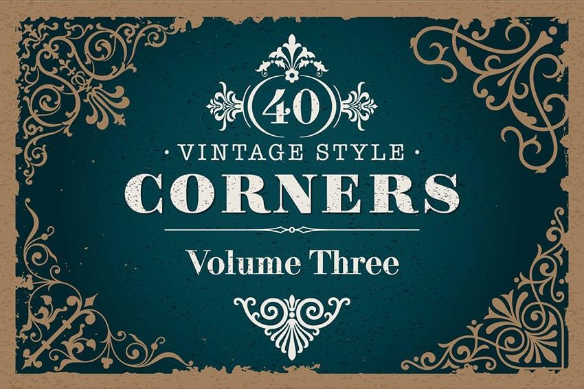 40 Art Nouveau Vintage Style Corners Set