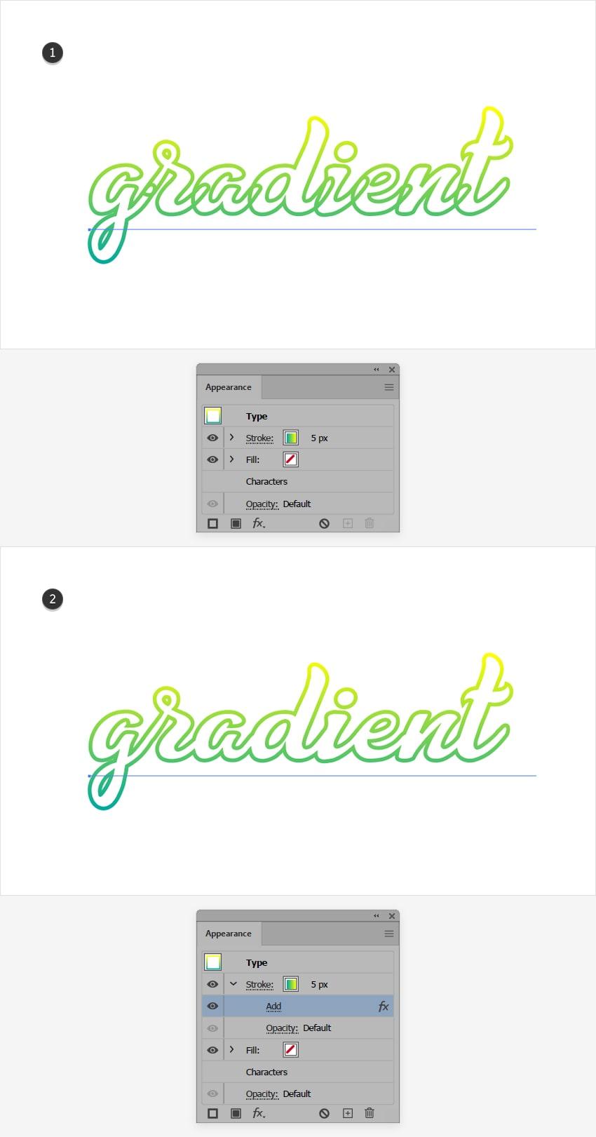 apply gradient text illustrator outline