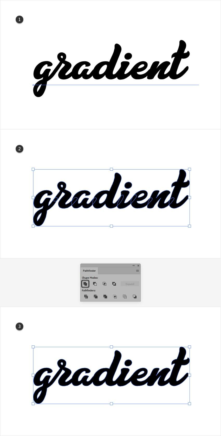 add gradient text illustrator