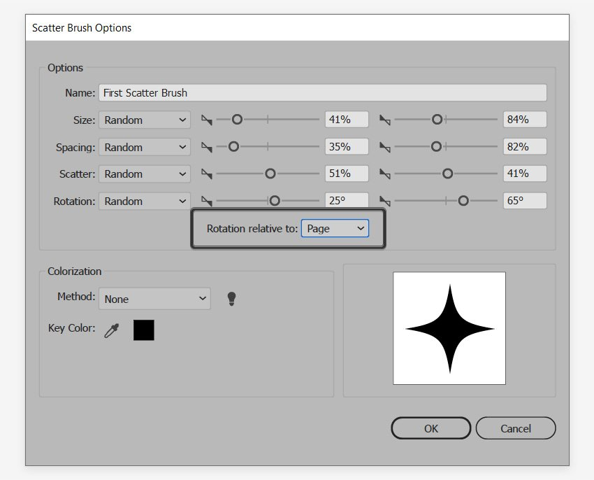 scatter brush relative to