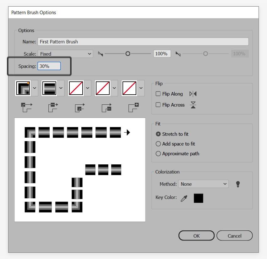 pattern brush spacing