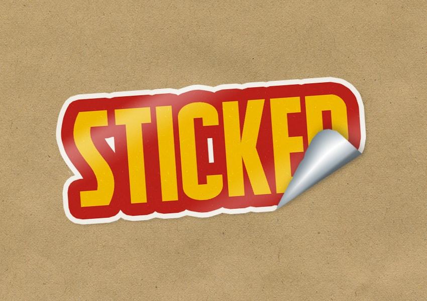 photoshop peeling sticker