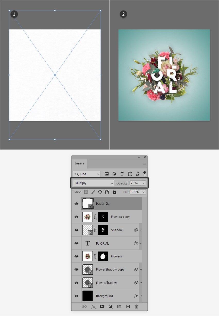 flower text effect texture