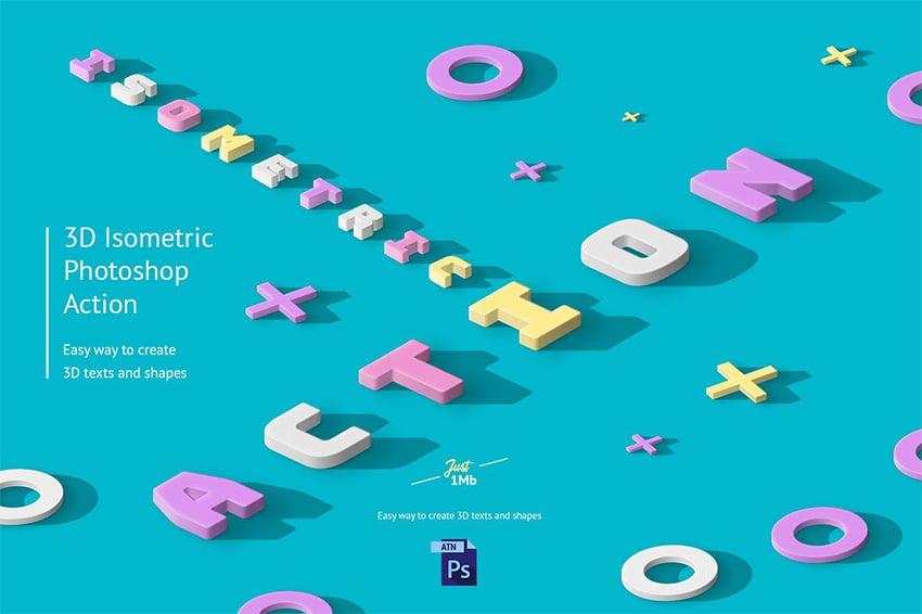 isometric text Photoshop