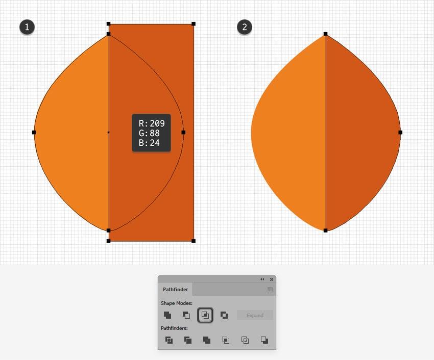 orange leaf design half