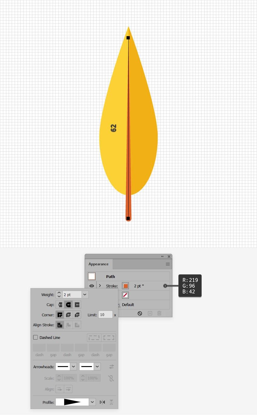 yellow leaf design line