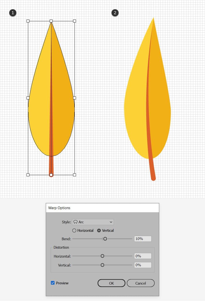 yellow leaf design warp