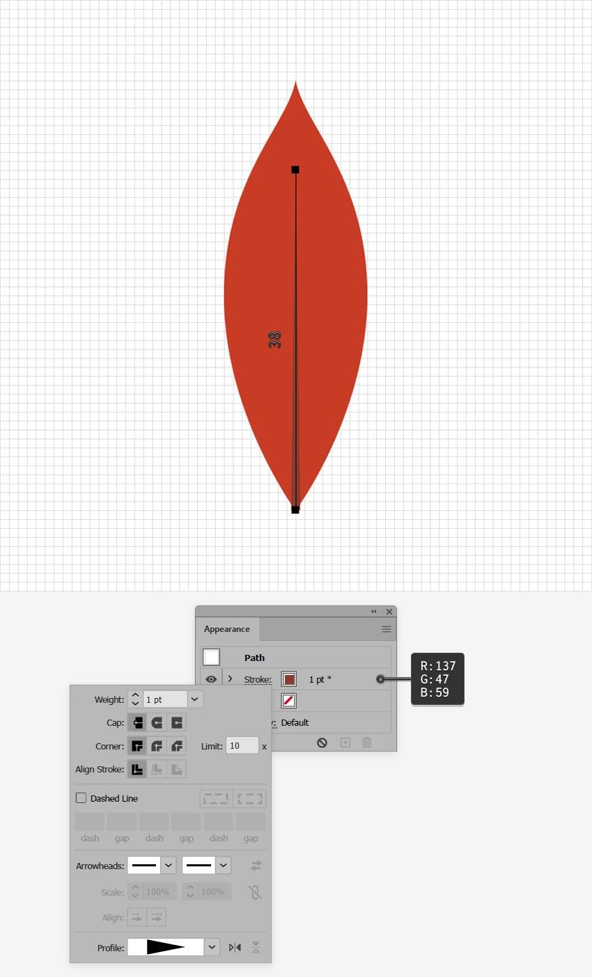 red leaf design line