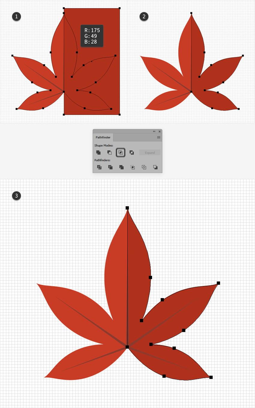red leaf design half