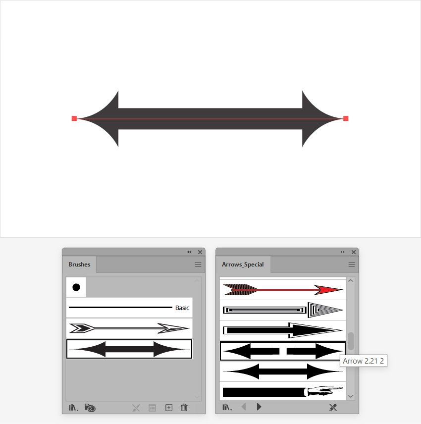 illustrator double ended arrow brush
