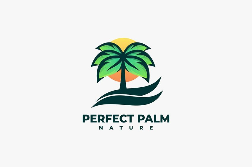 palm tree gradient logo