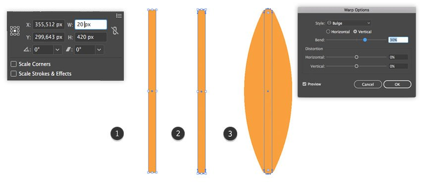 Applying of a Bulge effect to the surfboards shape